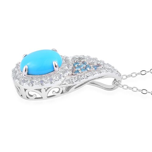 Designer Inspired- Limited Edition- Arizona Sleeping Beauty Turquoise (Ovl 2.00 Ct), Malgache Neon Apatite and White Zircon Pendant with Chain in Rhodium Plated Sterling Silver 3.400 Ct.