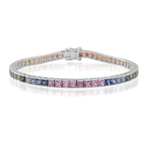 9K White Gold 11.50 Carat Multi Sapphire Princess Bracelet (Size 7.5).