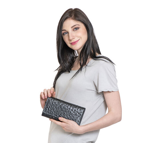 Genuine Leather RFID Blocker Black Colour Ostrich Pattern Bi-Fold Ladies Wallet (Size 20x11x2 Cm)