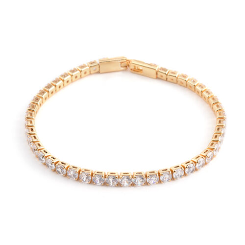 Simulated Diamond (Rnd) Tennis Bracelet (Size 7.5) in Yellow Gold Bond