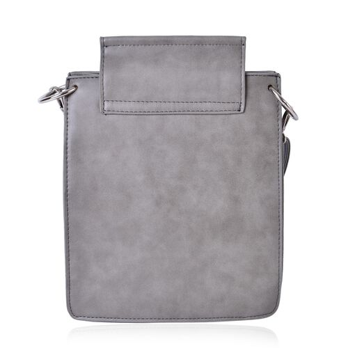 Light Grey Colour Crossbody Bag with Adjustable and Removable Shoulder Strap (Size 27x20x7 Cm)