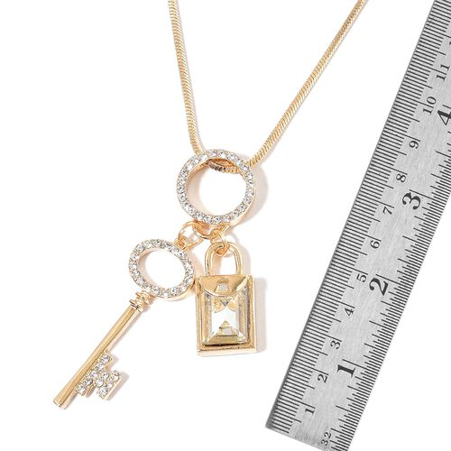 Simulated White Diamond and White Austrian Crystal Lock and Key Necklace (Size 29) in Yellow Gold Tone
