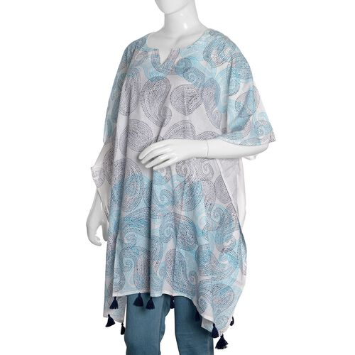 100% Cotton Blue, Grey and White Colour Hand Block Paisley Printed Kaftan with Tassels (Free Size)
