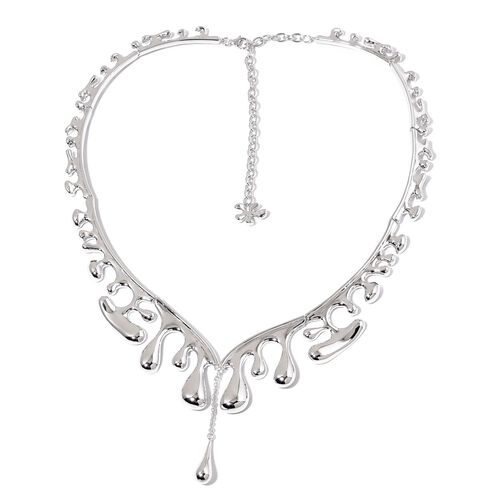 LucyQ Outer Wave Multi Drip Necklace (Size 20 with Extender) in Rhodium Plated Sterling Silver 61.23 Gms.