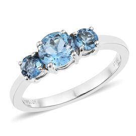 Signature Collection- RHAPSODY 950 Platinum AAAA Santa Maria Aquamarine (Rnd) 3 Stone Ring 1.250 Ct., Platinum wt. 4.25 Gms.