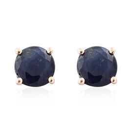 9K Yellow Gold 1 Carat AA Kanchanaburi Blue Sapphire (Rnd) Stud Earrings (with Push Back)