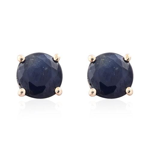 9K Yellow Gold AA Kanchanaburi Blue Sapphire (Rnd) Stud Earrings (with Push Back) 1.000 Ct.