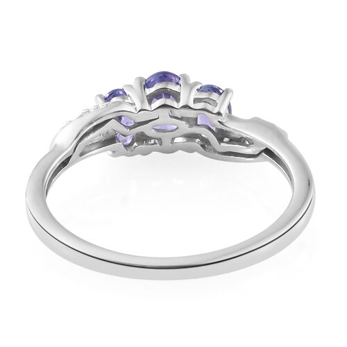 Tanzanite, Natural Cambodian Zircon 0.93 Ct Silver Ring in Platinum Overlay
