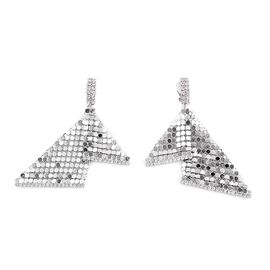 AAA White Austrian Crystal Dangle Earrings (with Push Back) in Silver Tone