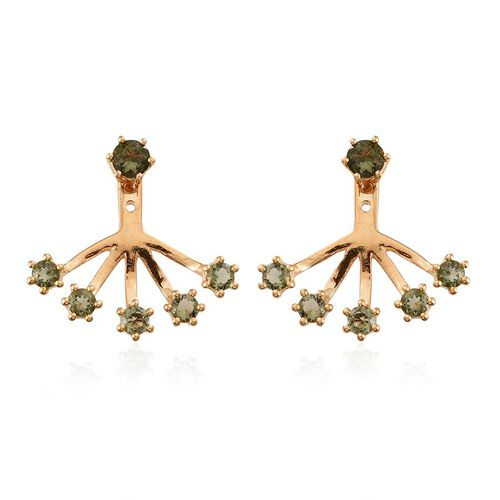 Bohemian Moldavite (Rnd) Jacket Earrings (with Push Back) in 14K Gold Overlay Sterling Silver 1.400 Ct. Silver wt 3.77 Gms.