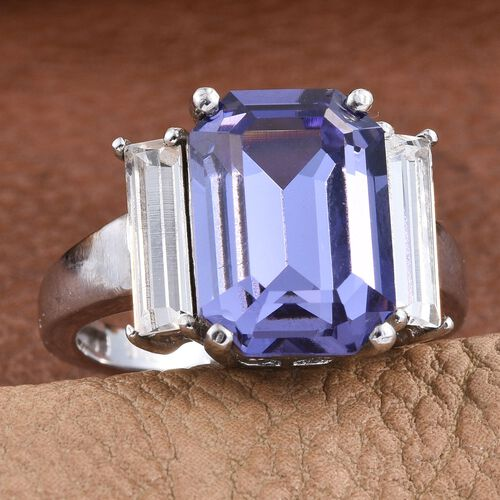 J Francis Crystal from Swarovski - Tanzanite Colour Crystal (Oct), White Crystal Ring in ION Plated Platinum Bond