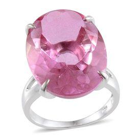 Kunzite Colour Quartz (Ovl) Solitaire Ring in Platinum Overlay Sterling Silver 28.000 Ct.