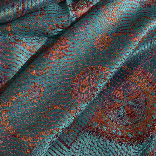 SILK MARK - 100% Superfine Silk Turquoise, Orange and Multi Colour Paisley and Floral Pattern Reversible Jacquard Scarf with Tassels (Size 190X70 Cm)