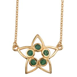 Kimberley Lotus Spice Collection - Kagem Zambian Emerald (Rnd) 5 Stone Star Pendant With Chain (Size 18) in 14K Gold Overlay Sterling Silver