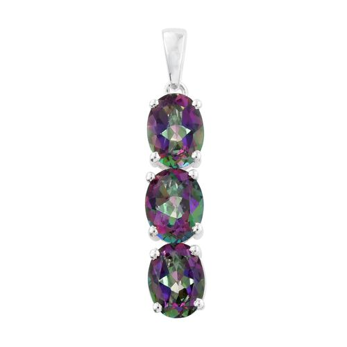 Northern Lights Mystic Topaz (Ovl) Trilogy Pendant in Sterling Silver 4.500 Ct.