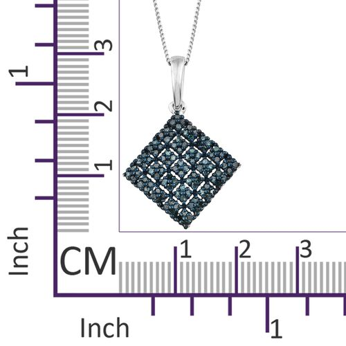 Blue Diamond (Rnd) Square Pendant With Chain in Blue Plating and Platinum Overlay Sterling Silver 0.500 Ct. Number of Diamonds 100