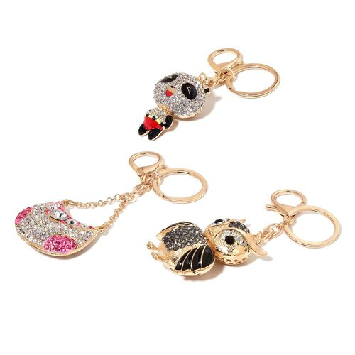 Set of 3 - White, Pink and Multi Colour Austrian Crystal Owl, Handbag and Panda Enameled Key Chain in Gold Tone