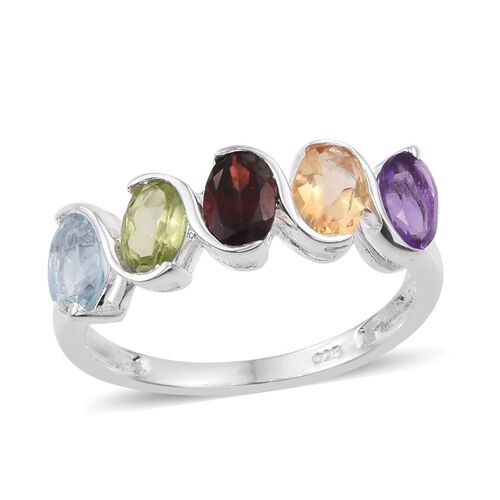 Sky Blue Topaz (Ovl), Amethyst, Citrine, Hebei Peridot and Mozambique Garnet Ring in Sterling Silver 2.500 Ct.