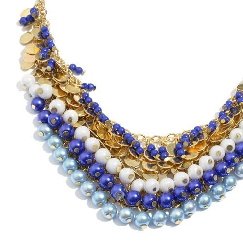 Blue, Lapis and Golden Colour Seed Beads Dangle Necklace (Size 18 with 3 inch Extender)