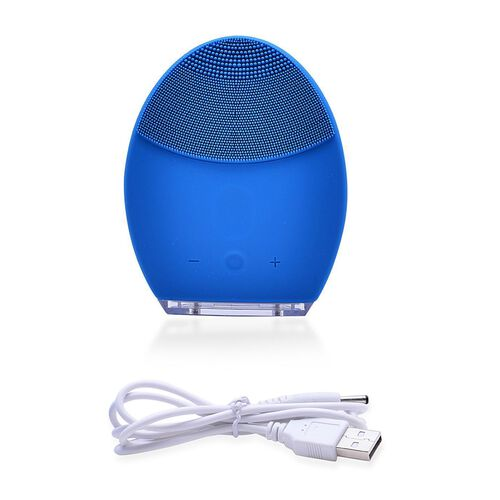 Silicone Blue Colour Face Cleansing Brush (Size 10.2X8.1X3.4 Cm)