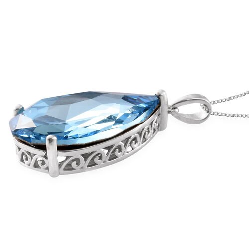 J Francis Crystal from Swarovski - Aquamarine Colour Crystal (Pear 30x20 mm) Pendant with Chain (Size 30) in Platinum Overlay Sterling Silver