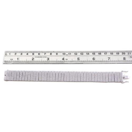 J Francis - Platinum Overlay Sterling Silver (Rnd) Bracelet Made with SWAROVSKI ZIRCONIA (Size 7.5) 20.640 Ct.