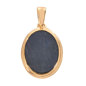 Spectrolite (Ovl) Solitaire Pendant in 14K Gold Overlay Sterling Silver 4.750 Ct.