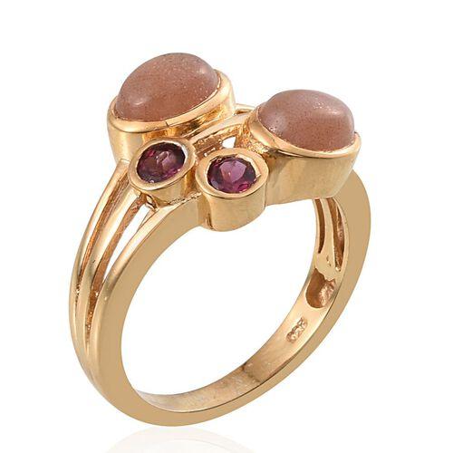 Morogoro Peach Sunstone (Ovl), Rhodolite Garnet Ring in 14K Gold Overlay Sterling Silver 3.000 Ct.