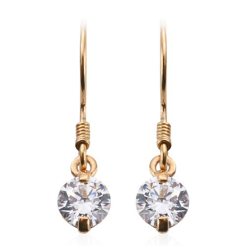 J Francis - 14K Gold Overlay Sterling Silver (Rnd) Hook Earrings Made with SWAROVSKI ZIRCONIA
