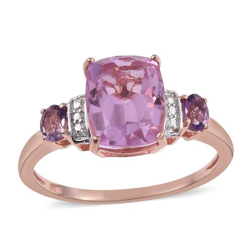 Kunzite Colour Quartz (Cush 1.75 Ct), Rose De France Amethyst Ring in Rose Gold Overlay Sterling Silver 2.000 Ct.