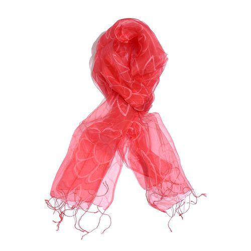100% Varanasi Silk Red Colour Floral Pattern Scarf (Size 180x50 Cm)
