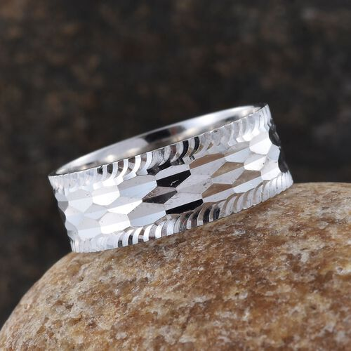 Rhodium Plated Sterling Silver Diamond Cut Band Ring, Silver wt. 3.45 Gms.