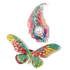 Set of 2 - AAA White and Multi Colour Austrian Crystal, Fresh Water Cultured Pearl Multi Colour Enameled Butterfly and Feather Brooch or Pendant with Chain (Size 20) in Yellow Gold Tone