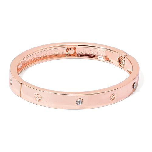 Designer Inspired - White Austrian Crystal Bangle (Size 6.5) in Rose Gold Tone