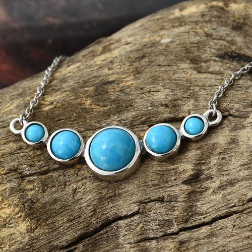 Arizona Sleeping Beauty Turquoise (Rnd) Necklace (Size 18) in Platinum Overlay Sterling Silver 2.750 Ct. Silver wt 5.02 Gms.