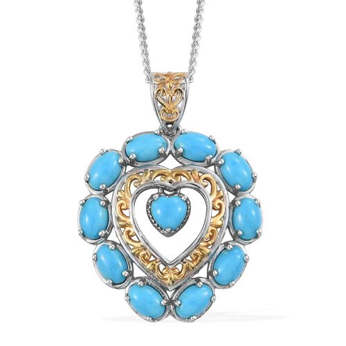 Arizona Sleeping Beauty Turquoise (Hrt 1.00 Ct) Pendant with Chain (Size 18) in Platinum and Yellow Gold Overlay Sterling Silver 5.000 Ct.