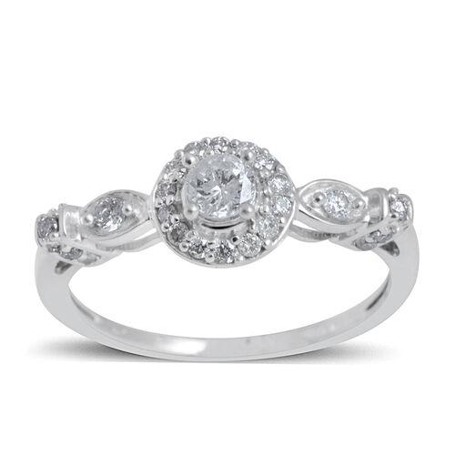 14K White Gold IGI Certified Diamond (Rnd 0.24 Ct) (I2/G-H) Ring 0.500 Ct.
