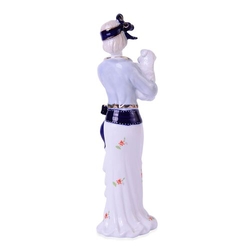 (Option 2) Art Deco Hand Painted Ceramic Figurine Lady Holding a Dog (Size 30x10x9 Cm)