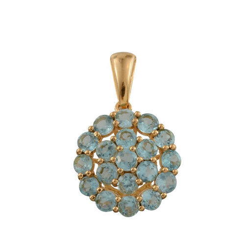 Paraibe Apatite (Rnd) Cluster Pendant in 14K Gold Overlay Sterling Silver 2.250 Ct.