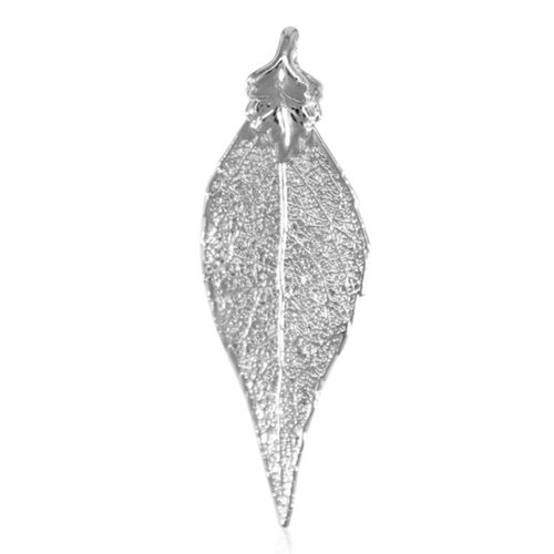 Real Evergreen Leaf Pendant (Size 4.5 - 5 Cm) Dipped in Black Rhodium