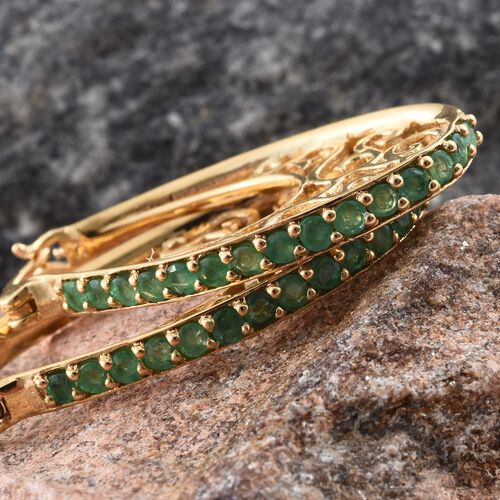 Kagem Zambian Emerald (Rnd) Filigree Hoop Earrings (with Clasp) in 14K Gold Overlay Sterling Silver 1.500 Ct. Silver wt. 7.30 Gms.
