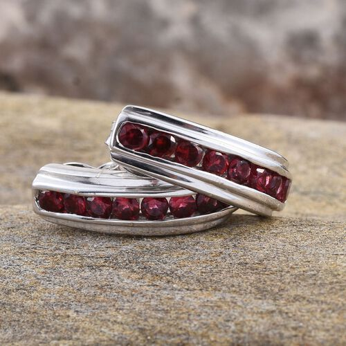Mahenge Spinel (Rnd) J Hoop Earrings (with Push Back) in Platinum Overlay Sterling Silver 0.750 Ct.