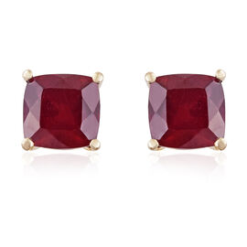 9K Yellow Gold AA African Ruby (Cush) Stud Earrings (with Push Back) 2.750 Ct.