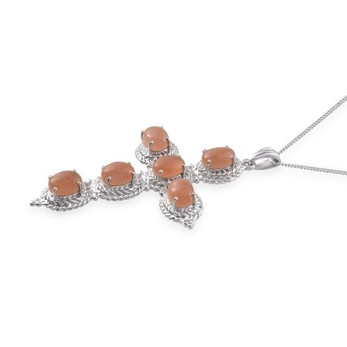 Morogoro Peach Sunstone (Ovl) Cross Pendant With Chain in Platinum Overlay Sterling Silver 8.250 Ct.