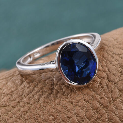 Ceylon Colour Quartz (Ovl) Solitaire Ring in Platinum Overlay Sterling Silver 3.250 Ct.