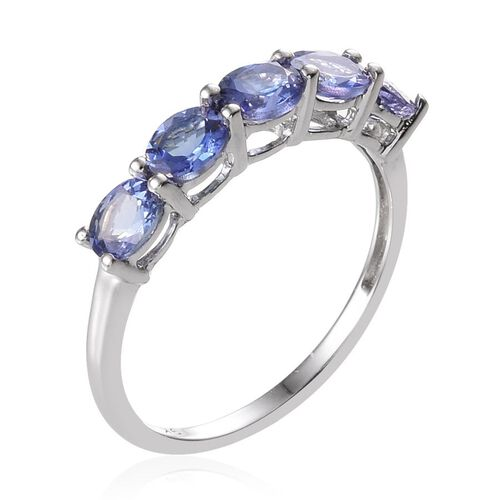 9K W Gold Tanzanite (Ovl) 5 Stone Ring 1.750 Ct.