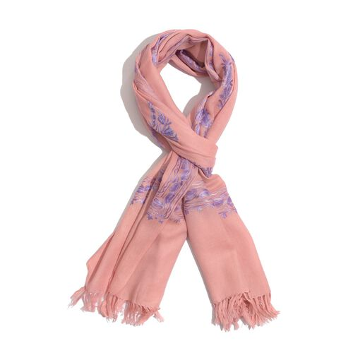 100% Wool Floral and Paisley Pattern Purple Colour Embroidered Peach Colour Scarf (Size 180x70 Cm)