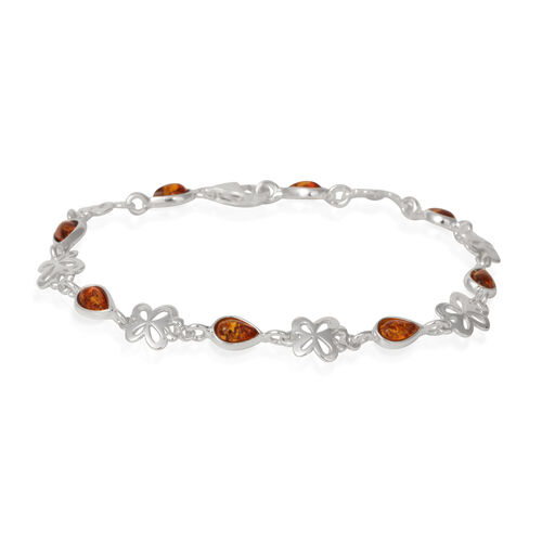 Amber Butterfly Bracelet Bracelet (Size 7.75) in Rhodium Plated Sterling Silver 4.000 Ct.