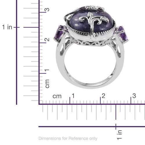 GP Purple Opal (Ovl 9.50 Ct), Amethyst and Kanchanaburi Blue Sapphire Ring in Platinum Overlay Sterling Silver 10.250 Ct.