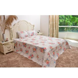Red, White and Multi Colour Floral Pattern Quilt (Size 260x240 Cm) with 2 Quilted Pillow Shams (Size 70x50 Cm)